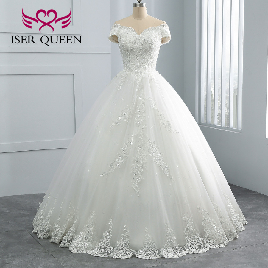 Pearls Beaded Bride Dress Cap Sleeve Vestido De Noiva Pure White Wedding Dress 2019 Lace Appliques Wedding Gown  Gelinlik WX0108