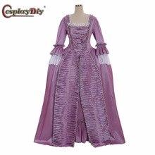 Cosplaydiy Marie Antoinette, бальное платье в стиле барокко, платье королевы 18 века, платье принцессы, колония, рококо, Белль, фиолетовое, на заказ