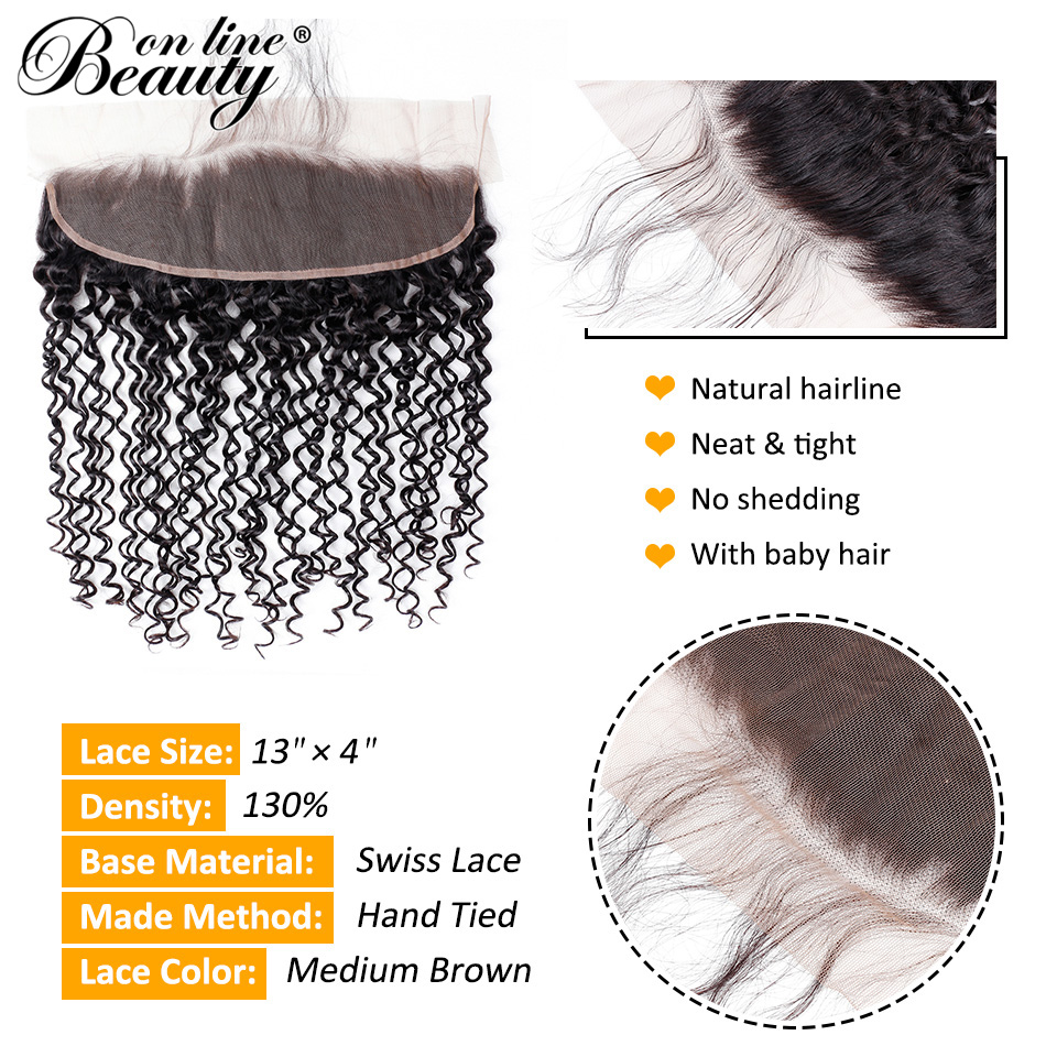 Beauty On Line Kinky Curly 4 Bundles With Frontal Pre-plucked Vietnamese Remy Hair Weave Bundles With 13*4 Lace Frontal Closure
