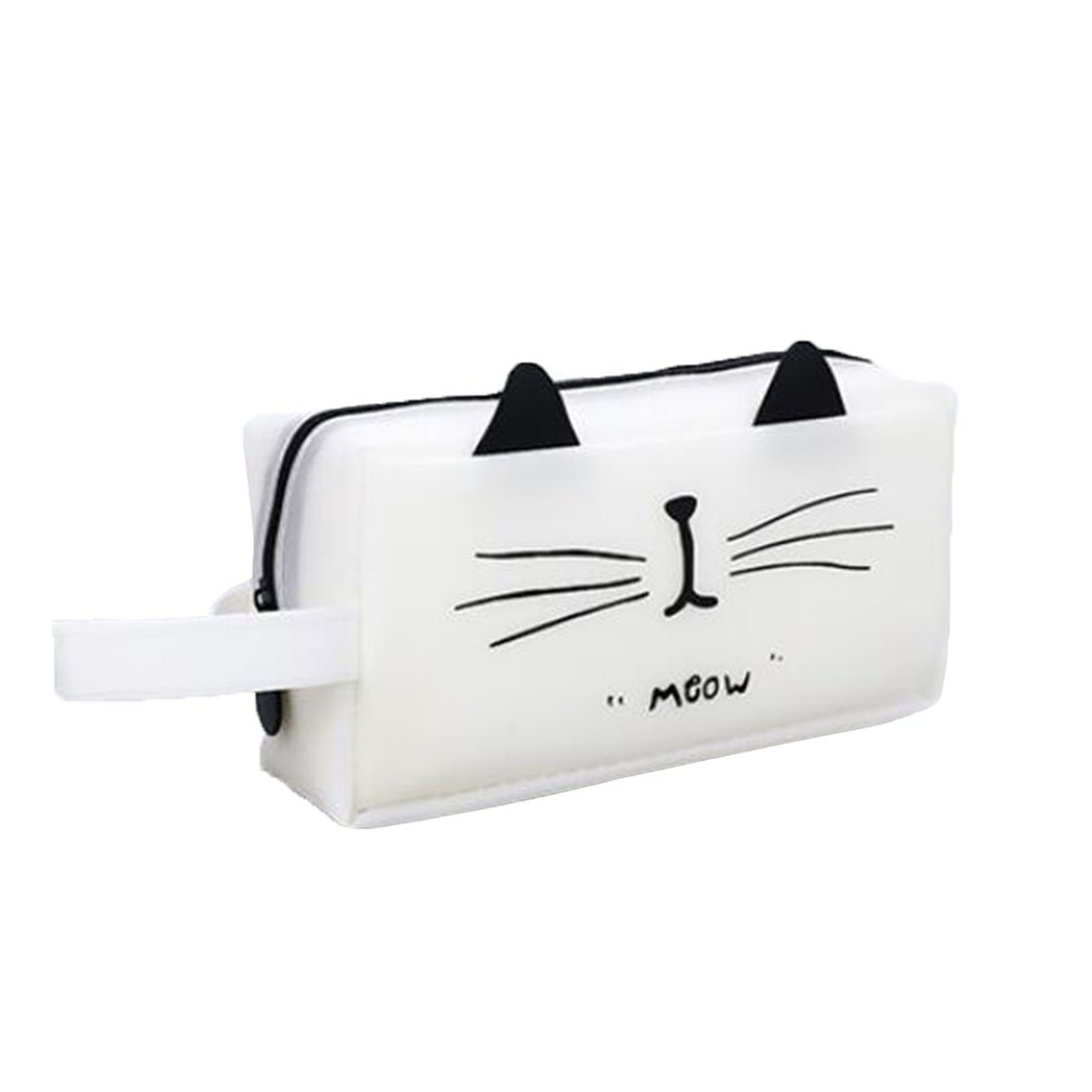 Large Pencil Silicone Cute School Supplies Stationery Gift Cartoon Cat Black White King Pencil Box Pencil Bag
