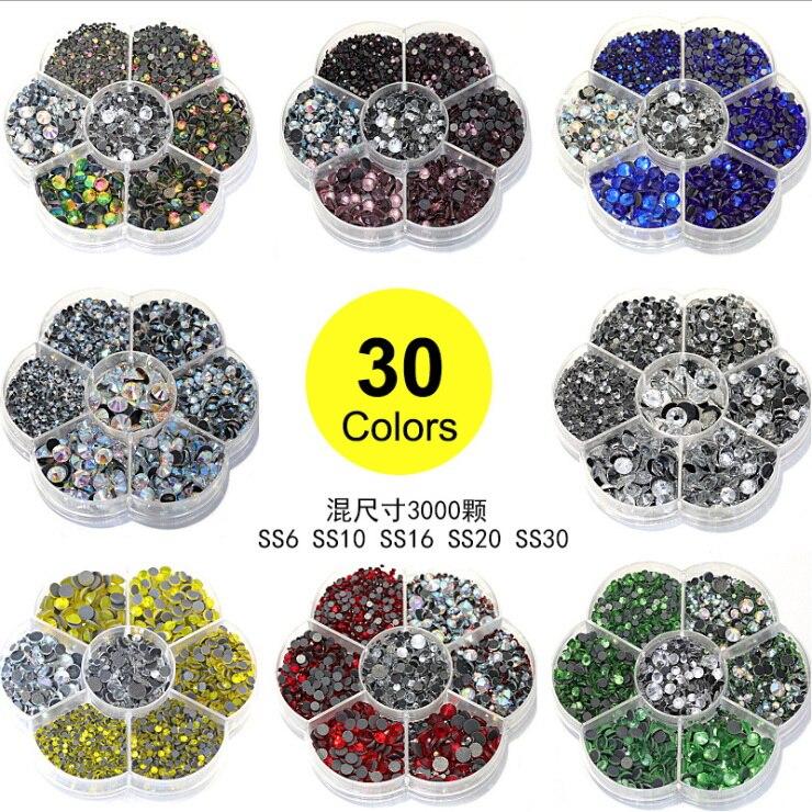 DHL 20 3000 unids/set tamaños mixtos de Cristal AB caliente del arreglo DMC diamantes de imitación de cristal de hierro en piedras para vestido de boda juguete artesanal-in Juguetes artesanales from Juguetes y pasatiempos    1