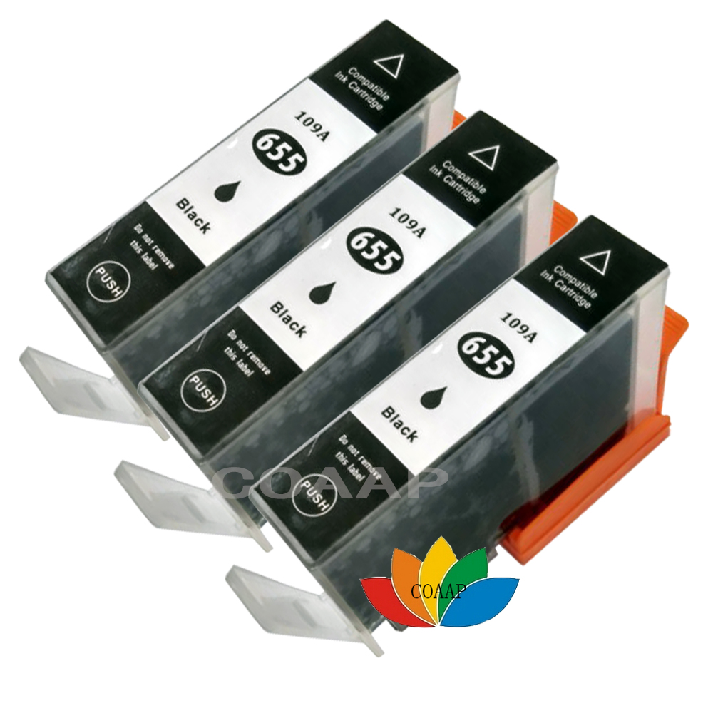 3 Black ink Cartridge for Compatible <font><b>HP</b></font> 655 655XL Deskjet 4615 3520 3525 4620 4625 5525 <font><b>6520</b></font> 6525 e-All-in-One Printer image
