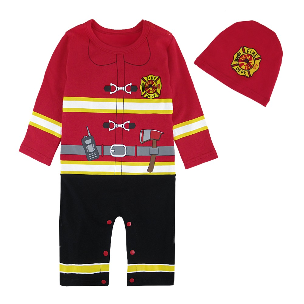 Baby Boys Halloween Costume Infant Newborn Fireman Romper with Hat Toddler Fire Fighter Cosplay Jumpsuit Outfit Winter Ropa Bebe