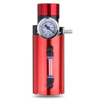 Car Styling Universal Engine Aluminum Oil Catch Reservoir Breather Tank Can Vacuum Pressure Gauge Red