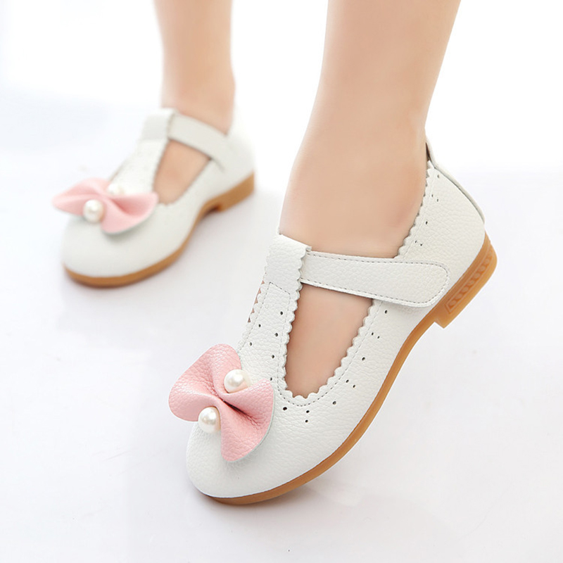 JUFOYU 2018 New Girls Leather Shoes Children Wedding Kid Shoes High Quality Princess Leather Shoes Girls Fashion Flower Shoes