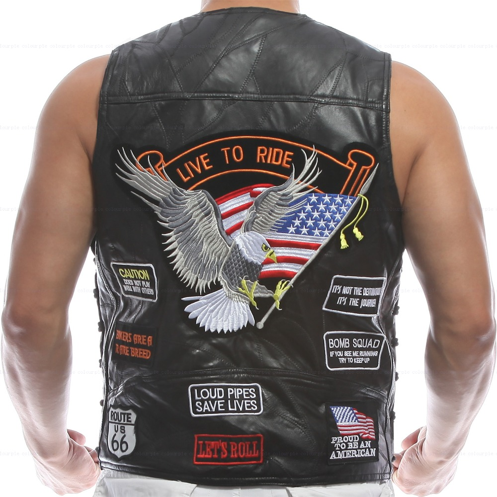 Vest Leather Men Waistcoat Embroidery Halley Motorcycle Riding Punk Hip hop Sheep skin Wind proof
