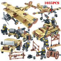 4 in 1 World War 2 Military Tank Plane Car Helicopter SWAT Soldiers Figures Building Blocks Compatible Legoings Army Bricks Toys