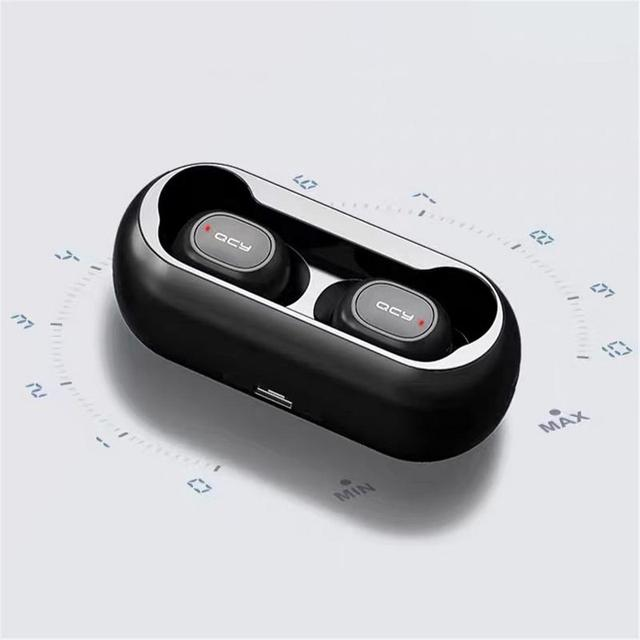 2018 QCY T1C Mini Bluetooth Earphones with Mic Wireless Sports Headphones Noise Cancelling Headset and charging box