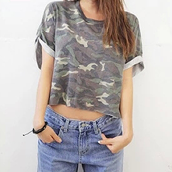 Das mulheres T - camisas soltas camuflagem de manga curta clássico ondulação stlye top curto curto verão t-shirt da camisa mulheres tops cropped T camisa