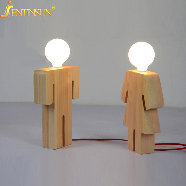 Modern Designer Boy Girl Shape Table Lamp Art Decoration Wood Desk ...