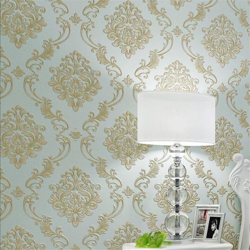 Beibehang European Damascus Nonwovens Wallpaper Luxury  3D Large Flower Bedroom Living Room Full Wall paper papel de parede beibehang luxury blue gold damascus