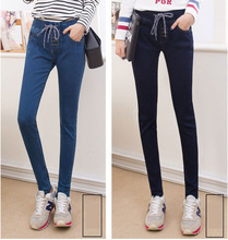 High Quality 2017 Spring Autumn show Thin Elastic Waist Women's Jeans Pencil Pants Feet Jeans Female Lace-Up Demin Skinny Pants