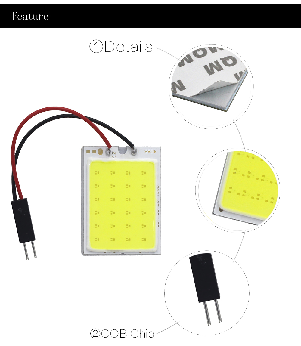 High Quality COB LED Panel Light Super White Car Reading Map Lamp Auto Dome Interior Bulb with T10 Adapter Festoon Base 12V DC