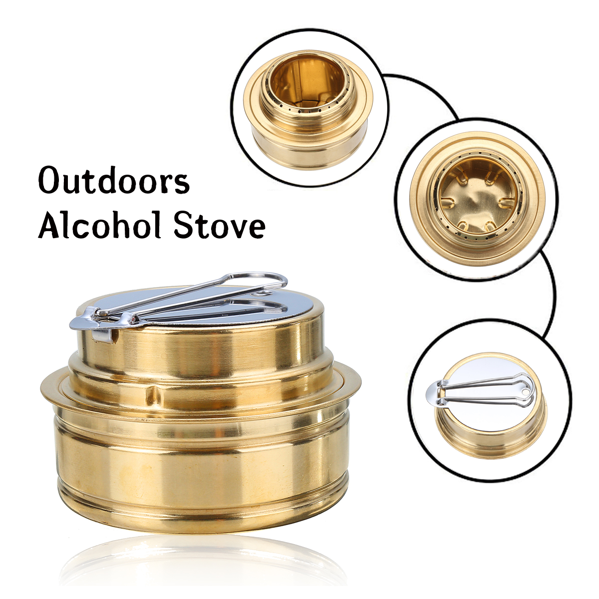 Outdoor Camping Picnic Stove Mini Tiny Combustor Copper Alcohol Stove Burner Gas Stoves Furnace Portable Folding