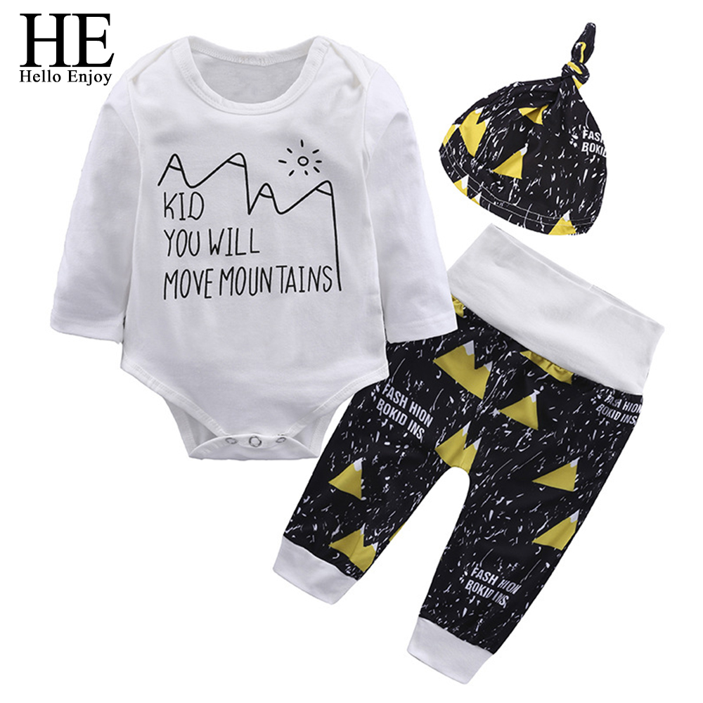 HE Hello Enjoy Newborn Boy Clothes Spring 2018 Fashion Print Long Sleeve Rompers+Pant+Hat 3Pcs Suit Baby Clothing Sets Outfits