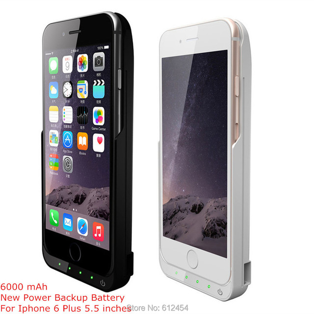 New 6000 mAh Rechargable External Backup Battery for iPhone 6 Plus 5.5 Inches Battery Power Case 2 Colors Black White