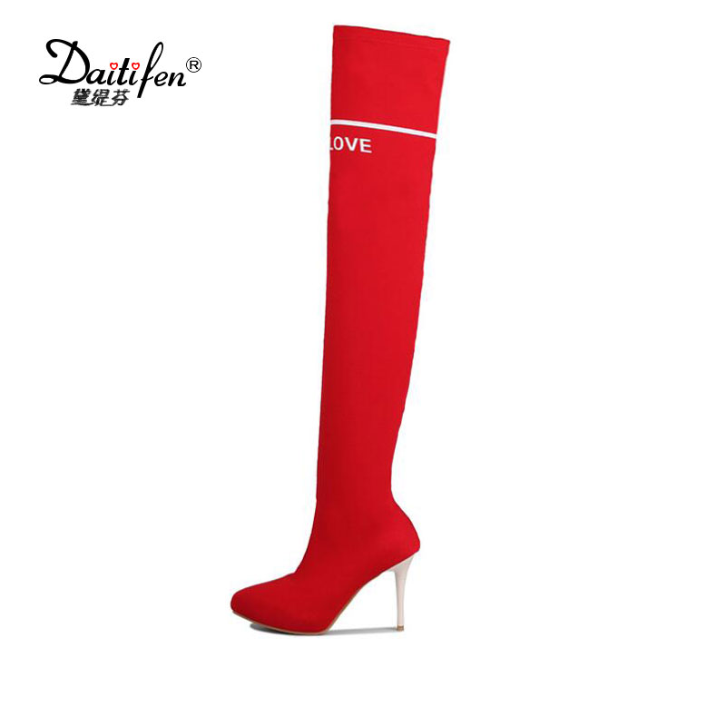 где купить 2017 New Thigh Boots Women Shoes Thin High Heels Pointed Toe Fashion Design Stretch Fabric Over The Knee Boots Lady Autumn Shoes по лучшей цене