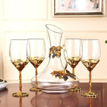 European Enamel Gold Retro  Wine Glass Cup   1