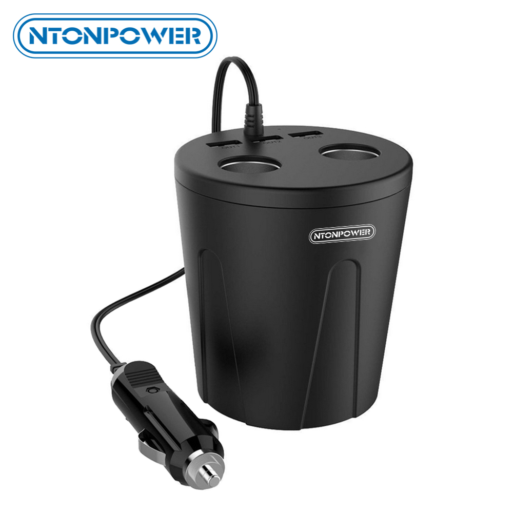 NTONPOWER MP 12V Output USB Billaddare Cigarettändare Adapter Snabbladdare för Smartphone / Tablet Multifunktionsdockning