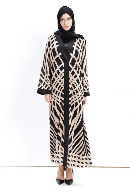 fe33e4f37404 Women's Elegant Long Sleeve Maxi Dress Fashionable Chiffon Muslim Islamic  Open Front Abaya Cardigan