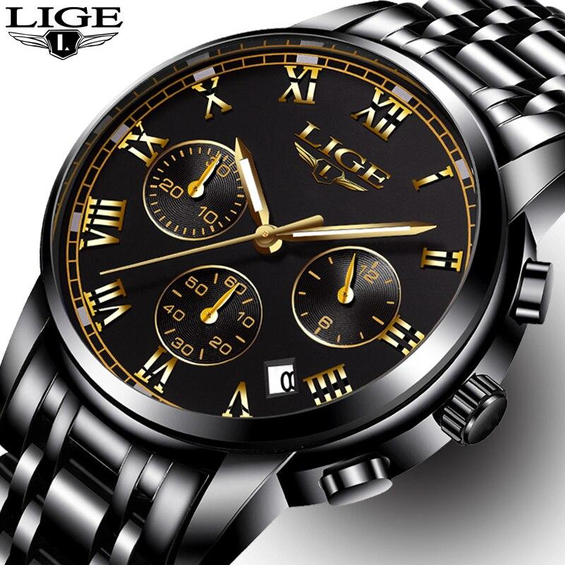 Mens Watches Top Brand LIGE Luxury Fashion Business Quartz Watch Men Sport Full Steel Waterproof Black Clock relogio masculino lige horloge 2017