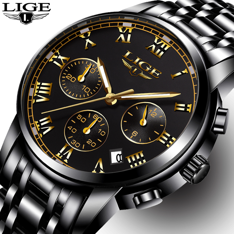 Mens Watches Top Brand LIGE Luxury Fashion Business Quartz Watch Men Sport Full Steel Waterproof Black Clock relogio masculino