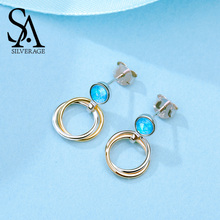 SA SILVERAGE 925 Sterling Silver Blue Opal Stone Drop Earrings for Woman 14K Gold Plated Earring Round Circle