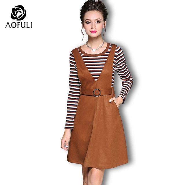 Aofuli Striped Tops Dress Suit Two Piece Women Set Long Sleeve Brown