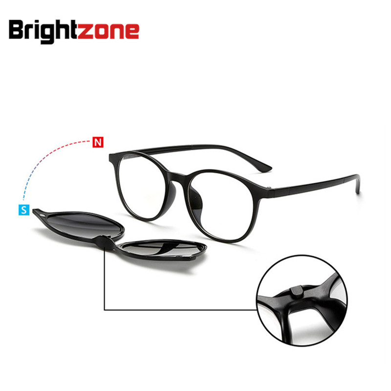 font b Fashion b font Spectacle Frame Men Women With 5 Pieces Clip On Sunglasses