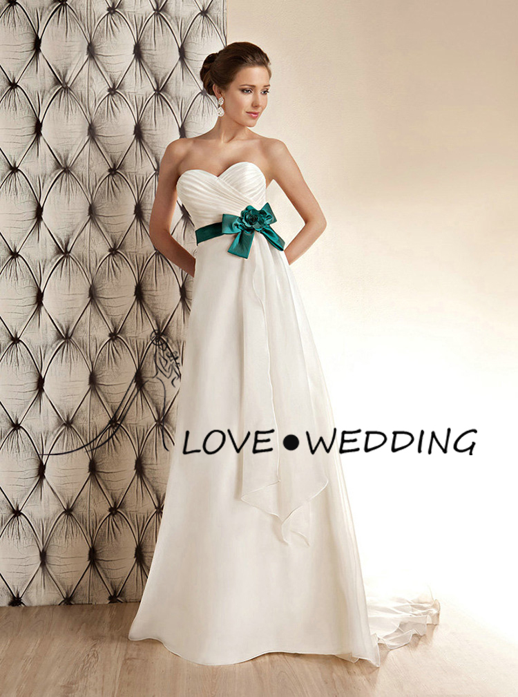 Simple White And Green Bow Sweetheart A line Wedding Dress WQ572-in ...
