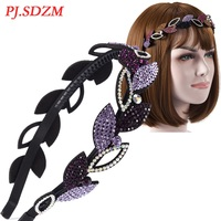 Head Hoop Rhinestone Non Slip Shinning Hair Accessories Teeth Leaf Shape Luxury Headband For Women Girl