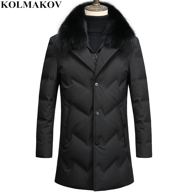 KOLMAKOV 2018 New Men's 90% White Duck Down Coats Fur Collar Detachable Overcoat Winter Warm Outwear Men Thick Down Jackets Man