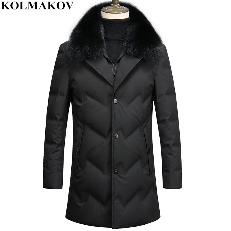 KOLMAKOV 2018 New Men's 90% White Duck   Down     Coats   Fur Collar Detachable Overcoat Winter Warm Outwear Men Thick   Down   Jackets Man