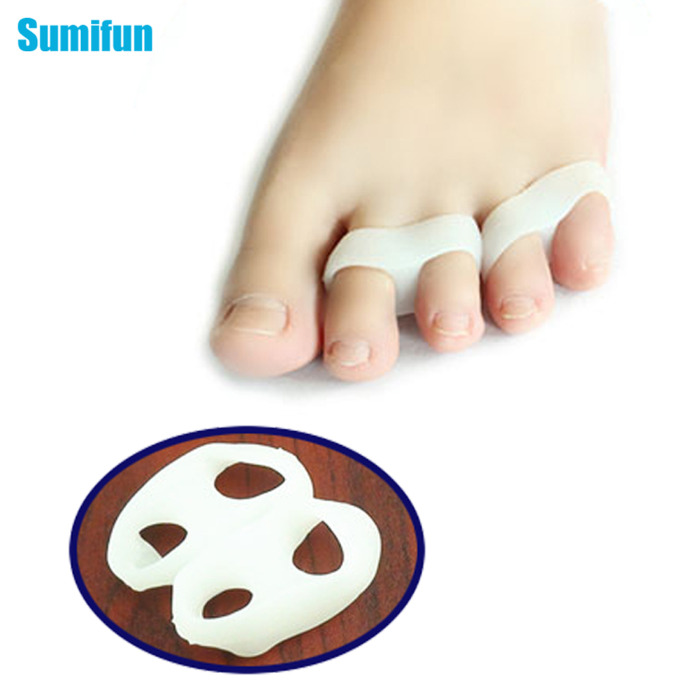 2Pcs Silicone Gel Toe Finger Separator Feet Care Braces Supports Tools Bunion Guard Foot Hallux Valgus Foot Massager C133