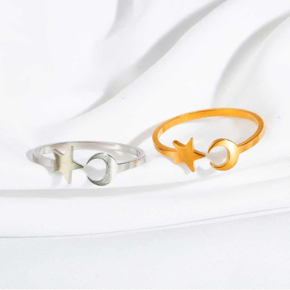 2019 ใหม่สแตนเลสสตีลแหวนผู้หญิงคลาสสิก Golden Silver Star Moon แหวนแฟชั่นเครื่องประดับงานแต่งงานของขวัญปรับขนาดได้