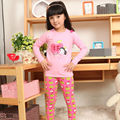 2016 Best-selling Long Johns Lovely Apples Girls Lycra Cotton Pink Pajama Nightwear Sets for Older Girls Underwear Set
