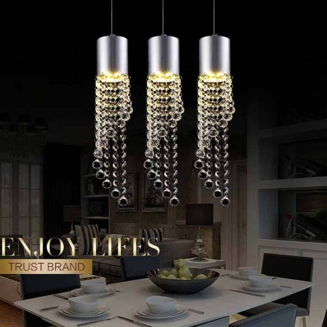 Buy 5w led lamp modern crystal pendant for Dining room 3 pendant lights