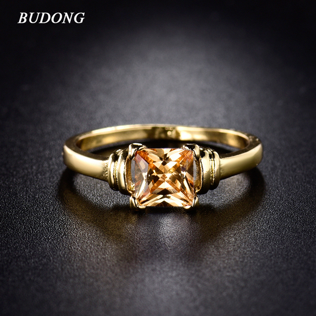 BUDONG Fashion Women Finger Rings Gold-Color Vintage Princess CZ Zirconia November Birthstone glass filled Wedding Jewelry R006