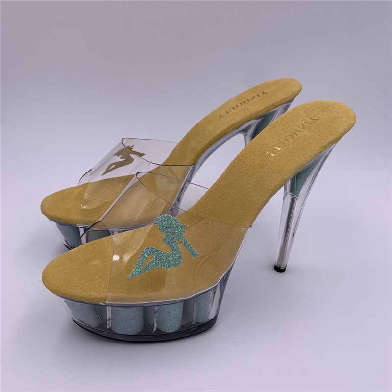Crystal 15cm <font><b>high</b></font> <font><b>heel</b></font> <font><b>slippers</b></font>.Fashionable <font><b>woman</b></font> <font><b>shoe</b></font> <font><b>sex</b></font> appeal belle adornment, model walks show <font><b>slipper</b></font> image