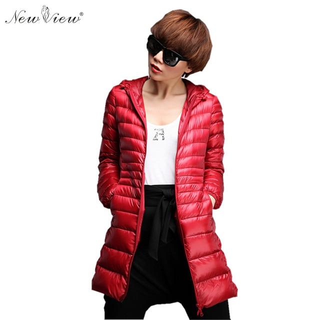 2017 Fashion Down Coat Winter Jacket Women Hooded Long Ultralight Duck Down Coats Slim Parka For Girls Female Ladies Plus Size