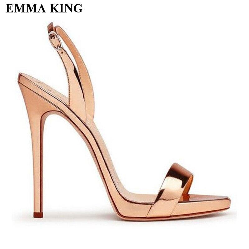 2018 Design talons hauts robe chaussures femmes Rose or argent été Sandalias femmes sandales solide gladiateur Sexy dames sandales