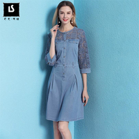 High Quality Spring Summer Women Denim Dress Jean Cowboy Sexy elegant hollow Shirt Dress Women Casual Retro Dresses Plus size