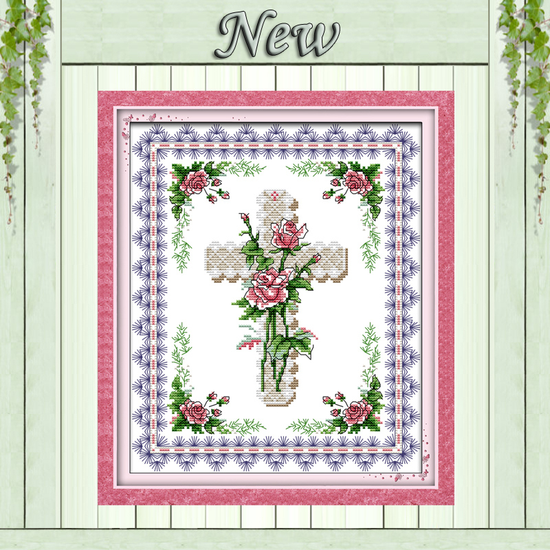 Package Creative Pink Roses Flowers Home Decor Paintings Dmc 14ct 11ct Counted Cross Stitch Needlework Set Embroidery Kits Chinese Cross Stitch Cross-stitch