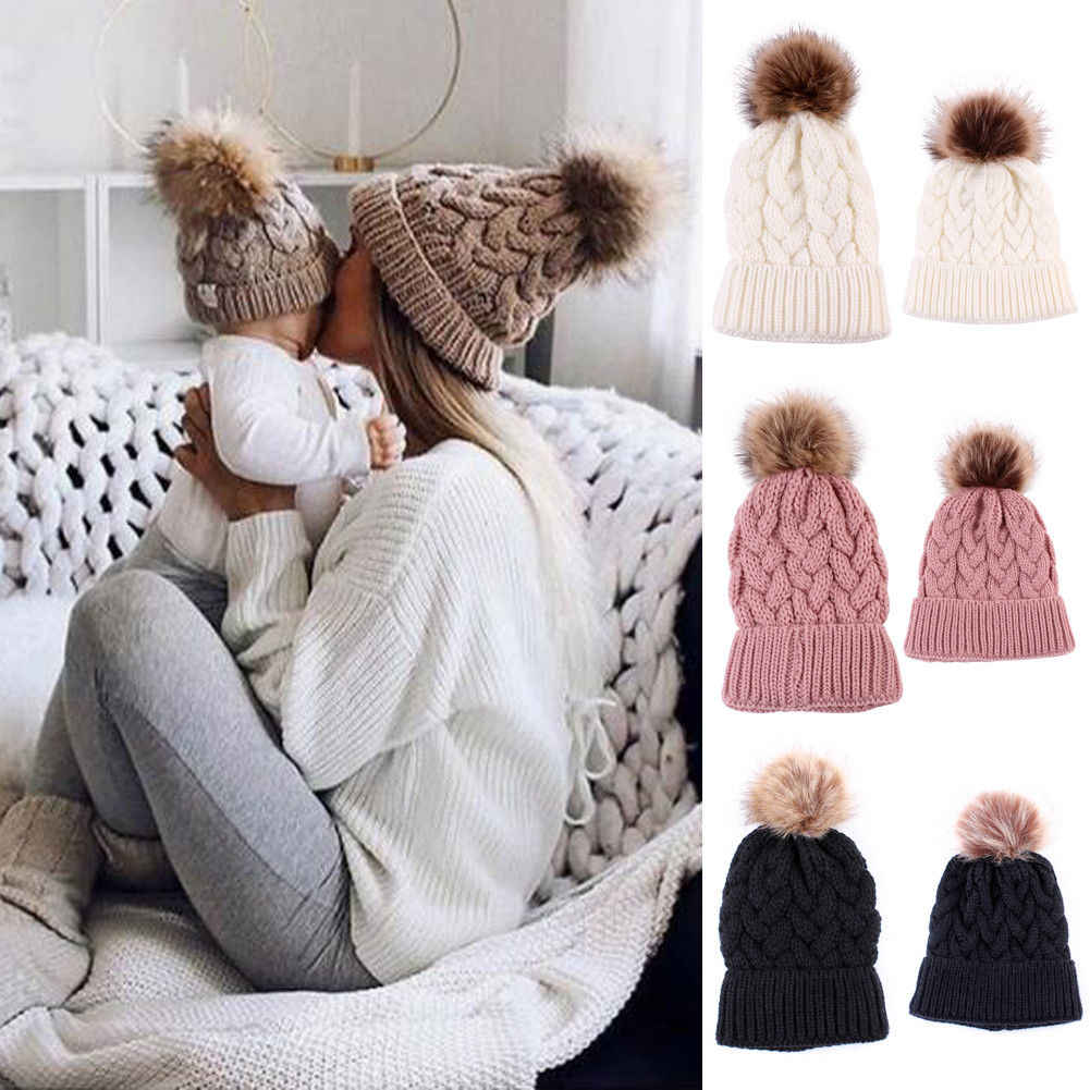 29daa11aa44 Detail Feedback Questions about 1Pcs Mother Baby Kids Winter Warm Hats Knit  Beanie Fur Pom Baby Children Hat Crochet Ski Ball Parent Child Hats Fashion  Caps ...