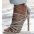 US12 Светло-Голубой Женщины Сандалии Гладиаторов Стиль Обувь Дамы На Высоких Каблуках Туфли Летние Женские Открытым Носком Лодыжки Завернутый