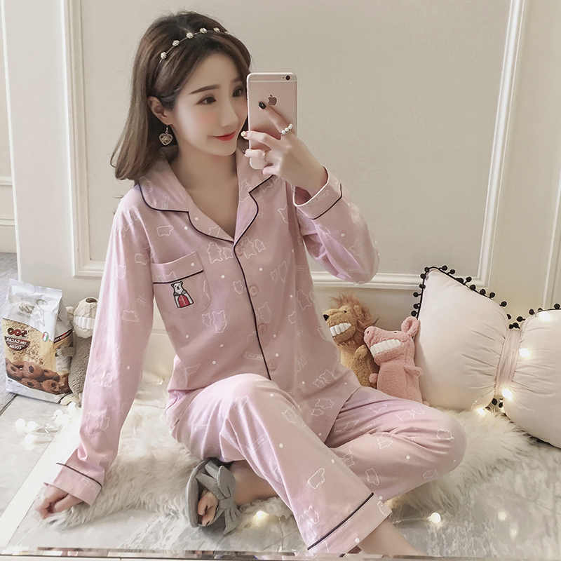 2018 WAVMIT Spring Autumn Long Sleeve Pajamas Set For Women Plus Size 3XL 4XL 5XL100% Cotton Home Cloth Leisure Womens Sets ...