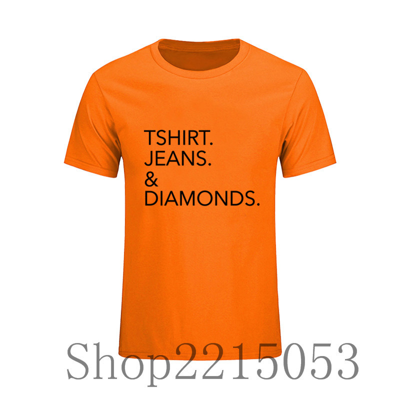 Mens Tshirt Jeans & Diamonds Best Selling Short Sleeve T-Shirt Round Neck Custom Work Tees Hombre T Shirt Print marcelo burlon