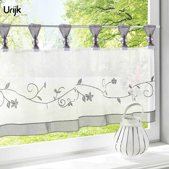 Urijk 1PC Small Cafe Half Curtains Gray Color Pastoral Style Window Curtains  Valance Embroidered For Kitchen Curtains