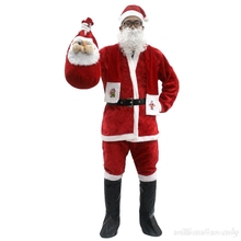 Women Men Gold Velvet Christmas Clothing Santa Claus Role Play Shirt Mustache Winter Warm Jacket Festival Performance Dresses