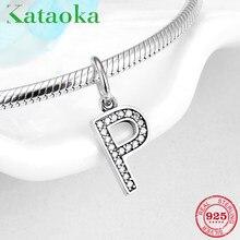 Nuevo 925 de plata esterlina encanto del alfabeto letra P colgantes cuentas  Original Pandora encantos pulsera collar de joyería . c9be0408f203